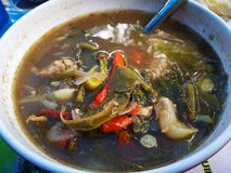 Maakte de smakelijke dikke soep van Kang Om A van kruiden en groenten met uw keus van vlees stock fotografie