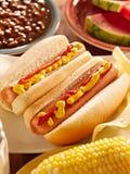 Maaltijd met hotdogs Royalty-vrije Stock Foto