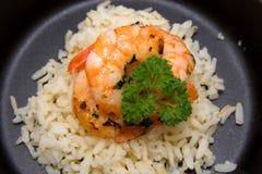Maaltijd met rijst en garnalen Royalty-vrije Stock Foto