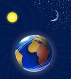Maan, aarde en zon stock illustratie
