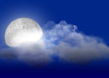 Maan & wolk Royalty-vrije Stock Afbeelding