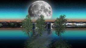 Maan bij dageraad en een bezinning van de stad vector illustratie