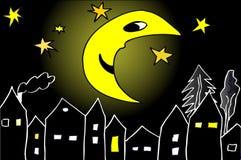 Maan bij middernacht Royalty-vrije Stock Afbeeldingen
