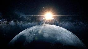 Maan in de ruimte Zonsopgang het 3d teruggeven Royalty-vrije Stock Afbeelding