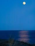 Maan die in overzees nadenkt Stock Foto's
