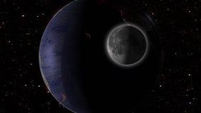Maan en aarde in ruimtemelkweg met sterren op achtergrond Stock Fotografie