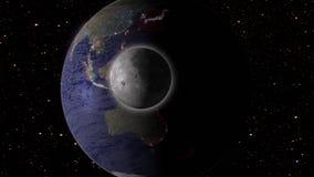 Maan en aarde in ruimtemelkweg met sterren op achtergrond Royalty-vrije Stock Afbeelding