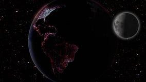 Maan en aarde in ruimtemelkweg met sterren op achtergrond Royalty-vrije Stock Fotografie