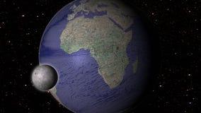 Maan en aarde in ruimtemelkweg met sterren op achtergrond Stock Foto