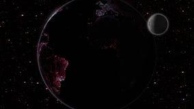 Maan en aarde in ruimtemelkweg met sterren op achtergrond Stock Afbeelding