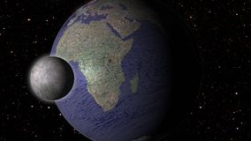 Maan en aarde in ruimtemelkweg met sterren op achtergrond Royalty-vrije Stock Afbeeldingen