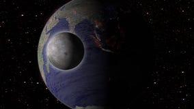 Maan en aarde in ruimtemelkweg met sterren op achtergrond Royalty-vrije Stock Foto's