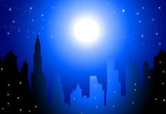 Maan en Nachtcityscape - Vector Royalty-vrije Stock Afbeeldingen
