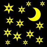 Maan en sterren Stock Fotografie