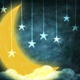 Maan en sterren Royalty-vrije Stock Foto's