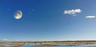 Maan en sterren Stock Foto's
