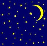 Maan en sterren in de hemel royalty-vrije illustratie