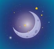 Maan en sterren in de hemel stock illustratie