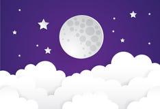 Maan en sterren in middernacht Stock Foto