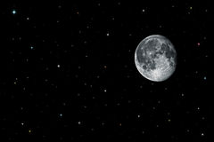 Maan en sterren in zwarte ruimte Royalty-vrije Stock Foto's