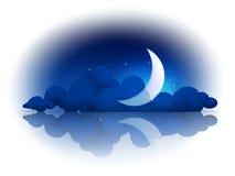 Maan en wolken stock illustratie