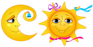 Maan en zon. Stock Fotografie