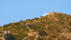 Maan geplaatste timelapse vroeg ochtend, blauwe hemel, dag stock footage