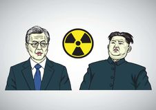 Maan jae-binnen VERSUS Kim Jong-un De Vectorillustratie van het karikatuurportret 21 september, 2017 Royalty-vrije Stock Afbeeldingen