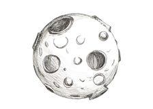 Maan met kraters die potlood trekken op witte achtergrond stock illustratie