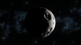Maan met melkweg in achtergrond en scherpe zon lichte schaduwen Maankraters en builen vector illustratie