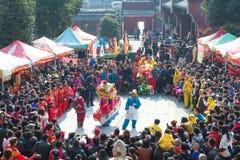 Maan nieuwe het jaar traditionele prestaties van China ` s Royalty-vrije Stock Fotografie