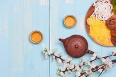 Maan nieuwe jaardecoratie traditioneel met Aziatische cultuur stock afbeeldingen