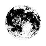 Maan op witte achtergrond wordt geïsoleerd die De elegante tekening van hemellichaam, plaatst astronomische voorwerp, satelliet o Stock Afbeeldingen