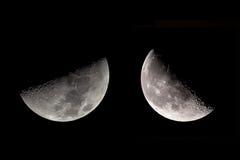 Maan op zwarte wordt geschoten die Stock Fotografie