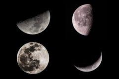 Maan op zwarte wordt geschoten die Stock Afbeelding