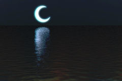 Maan over de scèneachtergrond van de waternacht Royalty-vrije Stock Foto