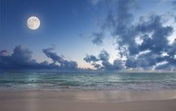 Maan over het strand Royalty-vrije Stock Foto's