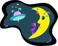 Maan, UFO, en Vreemde Worm Stock Afbeelding