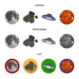 Maan, Venus van de planeet van het zonnestelsel Nul, een meteoriet Planeten geplaatst inzamelingspictogrammen in zwart-wit beeldv vector illustratie