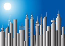 Maanbeschenen cityscape, illustratie Stock Foto