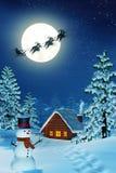 Maanbeschenen Kerstmislandschap bij nacht Royalty-vrije Stock Afbeeldingen