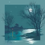 Maanbeschenen Nacht vector illustratie