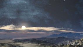 Maanbeschenen nacht in de woestijn stock videobeelden