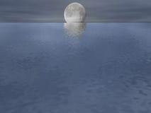 Maanbeschenen Oceaan Royalty-vrije Stock Foto