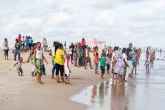 Maandag middag bij Obama-Strand, Cotonou royalty-vrije stock foto's