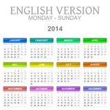 maandag van de de kalender de Engelse versie van 2014 aan zondag royalty-vrije illustratie