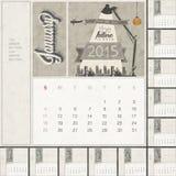 2015 Maandelijks kalendermalplaatje Royalty-vrije Stock Foto