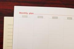 Maandelijks plan Royalty-vrije Stock Foto