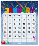 Maandelijkse kalender - 2 Januari Stock Illustratie