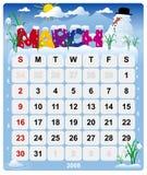 Maandelijkse kalender - 2 Maart Vector Illustratie